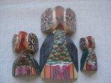 メキシコ 木彫り 親子ふくろう 神様 3個セット(4)