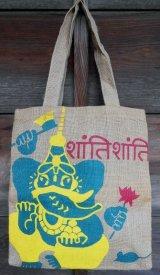 インド ジュート素材 トートバッグ