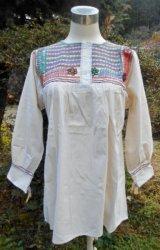 ✡メキシコ アグアカテナンゴ村 手刺繍 ブラウス 長袖✡マンタ生地