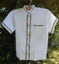 メキシコ メンズ スタンドカラー 織布(カラフル)付き ブラウス シャツ ホワイト