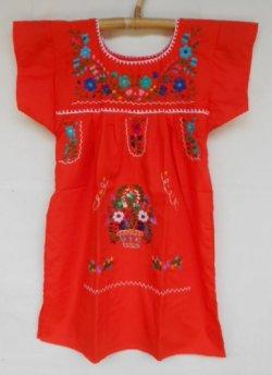 画像1: ✡子供用 メキシコ刺繍ワンピース✡着丈60cm
