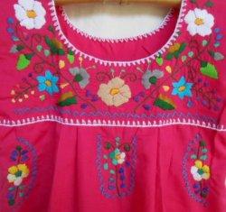 画像2: ✡子供用 メキシコ刺繍ワンピース✡着丈57cm