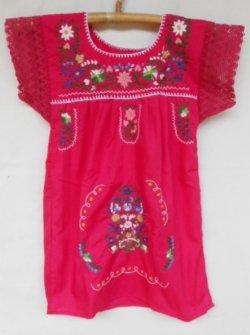 画像1: ✡子供用 メキシコ刺繍ワンピース✡着丈59cm