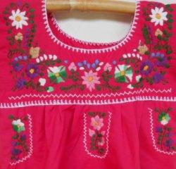 画像2: ✡子供用 メキシコ刺繍ワンピース✡着丈59cm
