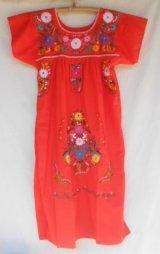 ☆メキシコ 手刺繍 ワンピース オレンジ☆着丈107cm 身幅48cm