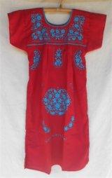 ☆メキシコ 手刺繍 ワンピース レッド☆着丈90cm 身幅42cm
