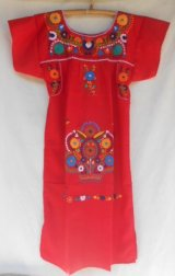 ☆メキシコ 手刺繍 ワンピース レッド☆着丈107cm 身幅50cm