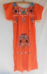 ☆メキシコ 手刺繍 ワンピース オレンジ☆着丈105cm 身幅46cm