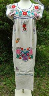 ☆メキシコ 手刺繍 ワンピース☆マンタ生地 着丈105cm 身幅46cm