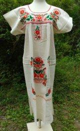 ☆メキシコ 手刺繍 ワンピース☆マンタ生地 着丈103cm 身幅50cm